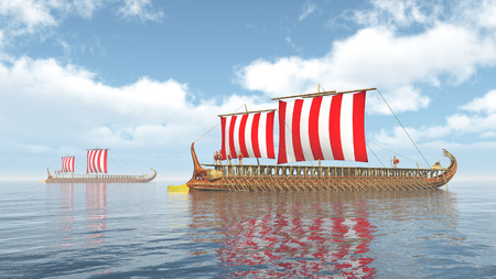 Ancient Greek Warships Stock Photo