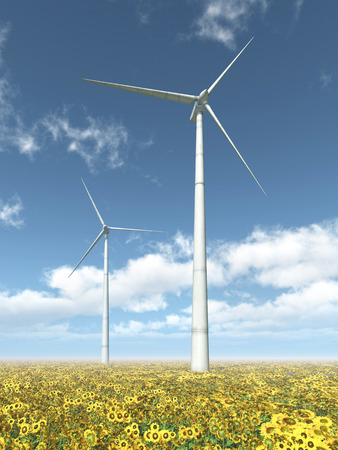 electricity prices: Wind turbines and sunflowers Stock Photo