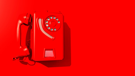 red wall: Red wall phone on a red wall