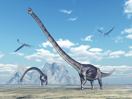pterosaur: Dinosaur Omeisaurus and pterosaur Quetzalcoatlus