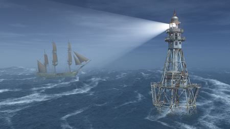 Lighthouse and sailing ship at night in the stormy ocean
