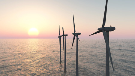 electricity prices: Offshore wind farm at sunset