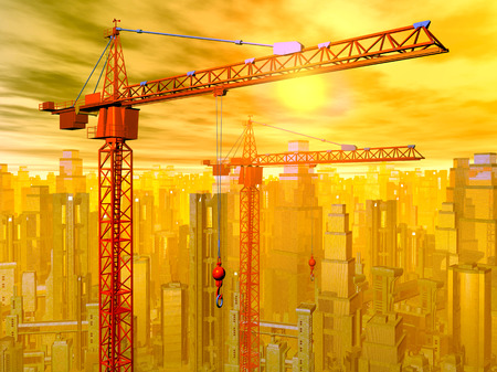 building trade: Construction cranes in front of a city landscape