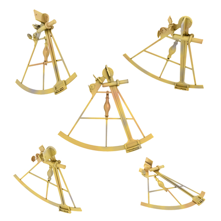 surveying: Sextant in various positions isolated on white background