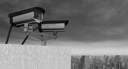 guarding: Surveillance camera over a city