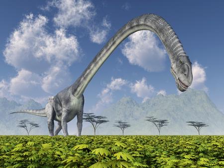long neck: Dinosaur Omeisaurus Stock Photo