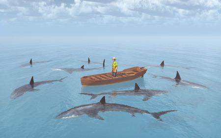 Gli squali circondano un uomo in una barca