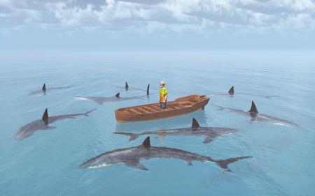 surround: Sharks surround a man in a boat Stock Photo