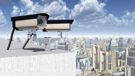 alertness: Surveillance camera over a city