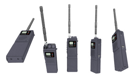 walkie talkie: Walkie talkie in various positions isolated on white background Stock Photo