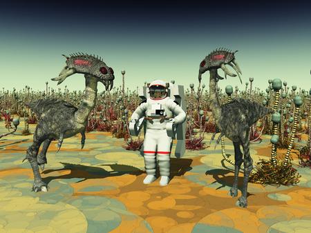 futuristic nature: Extraterrestrial life and astronaut