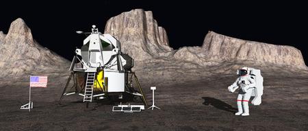 음력 모듈과 우주 비행사 스톡 콘텐츠