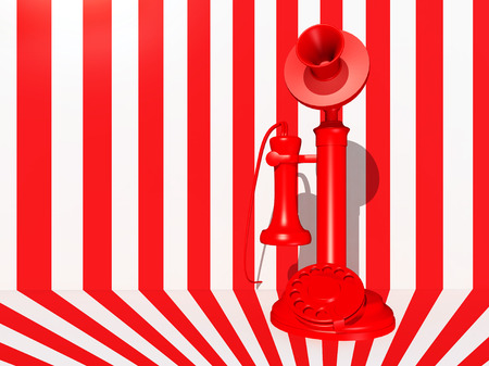 candlestick: Red candlestick telephone against a red white background