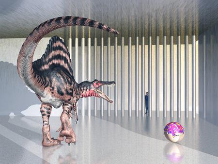 spinosaurus: Dinosaur Spinosaurus in the zoo Stock Photo