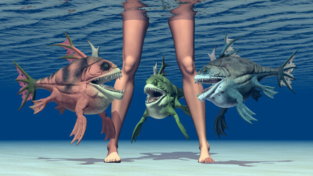 mobbing: Woman legs and monstrous fish