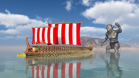 historical ship: Odysseus at the Cyclopes Stock Photo