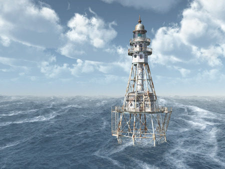 waterway: Lighthouse in the stormy ocean