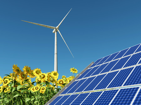 electricity prices: Wind turbine, solar panel and sunflowers Stock Photo