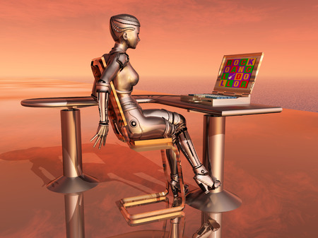 Female robot and laptop