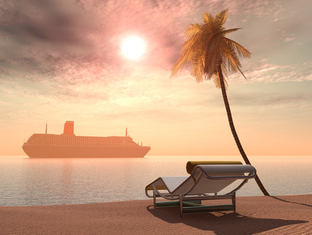 deck chair: Cruise ship, deck chair and palm tree