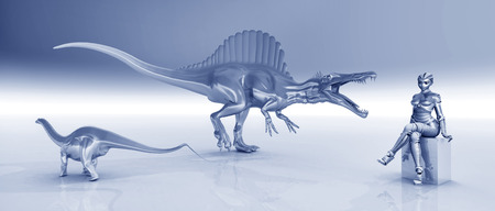 spinosaurus: Female robot and sculptures of dinosaurs Stock Photo