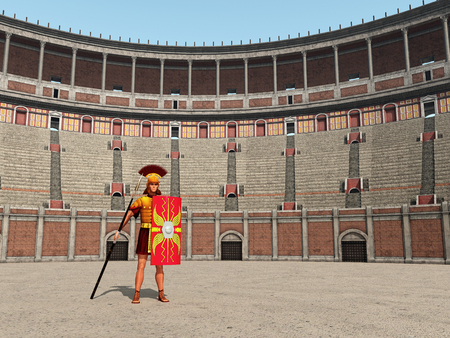 Centurion and Colosseum in ancient Rome