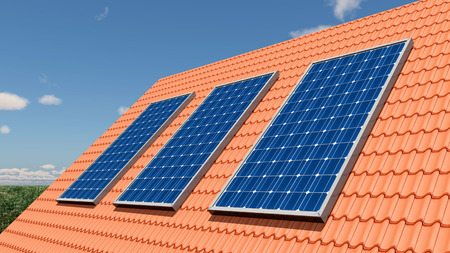 photovoltaic panel: Solar panels on a roof