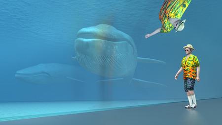 blue sea: Tourist and blue whale in a sea aquarium