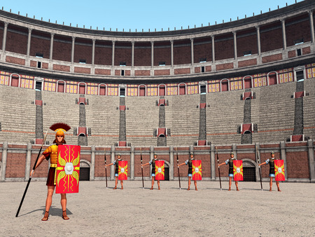 Centurion, legionaries and Colosseum in ancient Rome