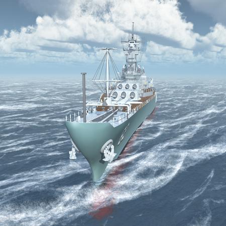 world war two: American battleship of World War II in the stormy ocean Stock Photo