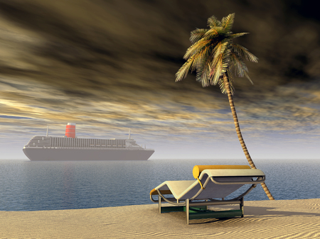 Cruiseschip, ligstoel en palm Stockfoto
