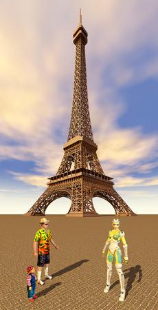guia turistico: Los turistas y los guía en París Foto de archivo