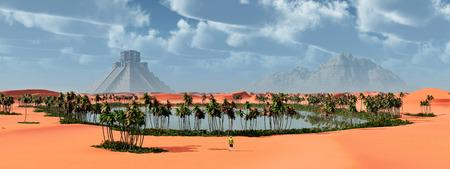 cultura maya: Paisaje y templo maya Foto de archivo