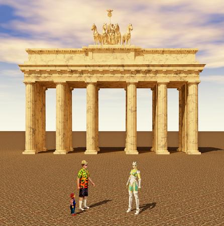 guia turistico: Los turistas y los guía en Berlín