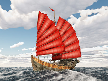 stormy clouds: Chinese junk ship in the stormy ocean