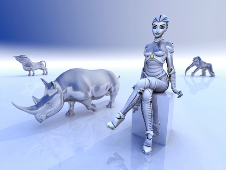 fine arts: Female robot and sculptures of wild animals