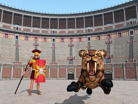 roma antigua: ataque del animal en el Coliseo de Roma antigua