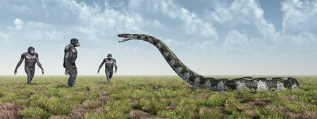 Homo Habilis and Titanoboa Stock Photo