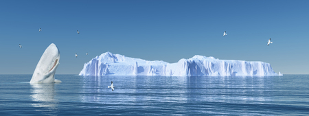 cloudless: Sperm whale, sea gulls and iceberg Stock Photo