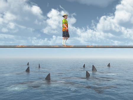 reckless: Man balancing on a board over the ocean with great white sharks