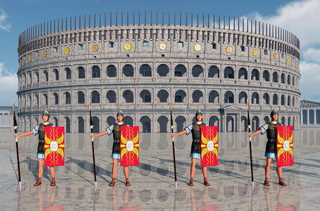 ancient rome: Legionaries and Colosseum in ancient Rome Stock Photo