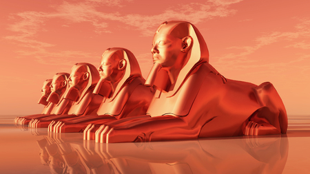 egyptian culture: Sphinxes, statues of a male lion