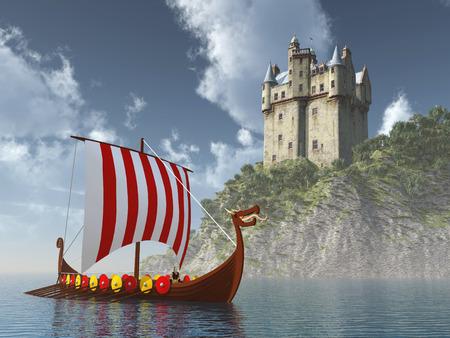Schottischen Schloss am Meer und Wikingerschiff