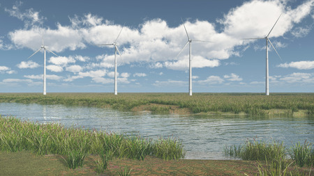 sky blue: River landscape and wind turbines