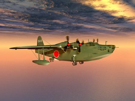 world war ii: Japanese Navy flying boat of World War II Stock Photo
