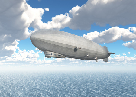 ocean liner: Airship over the sea