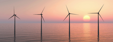 energies: Offshore wind farm at sunset