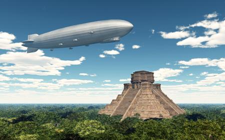 Airship and Mayan temple