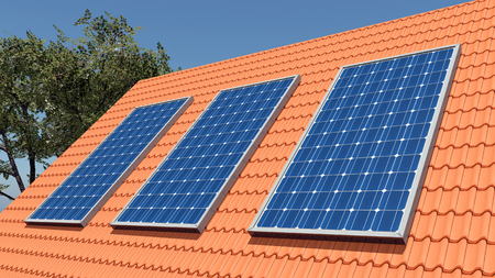 solar panel roof: Solar panels on a roof