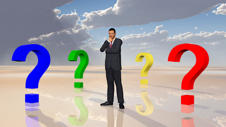 marks: Businessman and question marks Stock Photo
